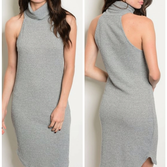 Sweet Claire Dresses & Skirts - SWEET CLAIRE GREY TURTLENECK SLEEVELESS GRAY DRESS
